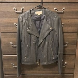 MICHAEL Michael Kors Gray Leather Jacket